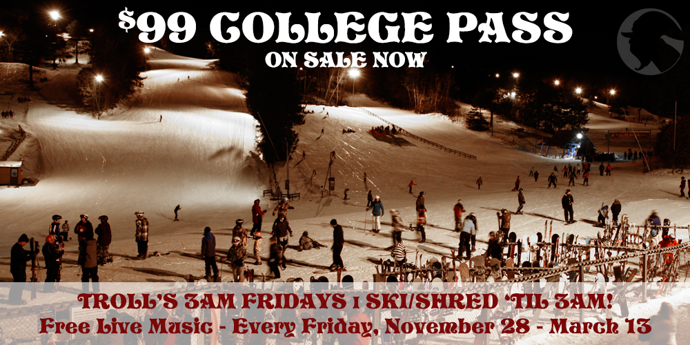 Trollhaugen $99 College Pass - The Best Ski & Snowboard Value For College Humans In Minnesota / Wisconsin